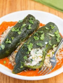 Stuffed Poblano Peppers with Red Pepper Puree